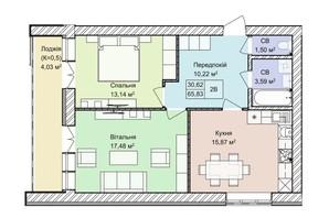 ЖК Гостомель Residence: планування 2-кімнатної квартири 65.83 м²