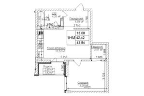 ЖК Гостомель Residence: планування 1-кімнатної квартири 44 м²