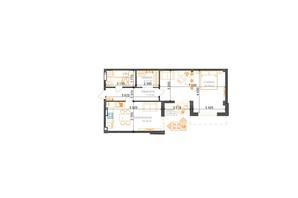 ЖК Гостомель Residence: планування 1-кімнатної квартири 64.32 м²