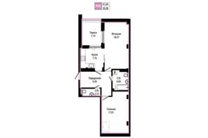 ЖК Гостомель Residence: планування 2-кімнатної квартири 61.64 м²