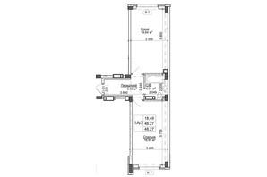ЖК Гостомель Residence: планування 1-кімнатної квартири 48.27 м²