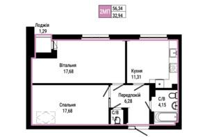ЖК Гостомель Residence: планування 2-кімнатної квартири 56.34 м²