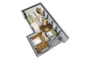 ЖК Гостомель Residence: планування 1-кімнатної квартири 64.4 м²