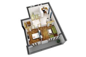 ЖК Гостомель Residence: планування 2-кімнатної квартири 70.1 м²