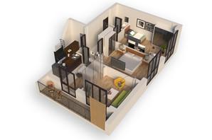 ЖК Гостомель Residence: планування 2-кімнатної квартири 65.1 м²