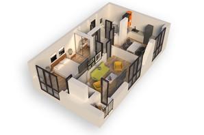 ЖК Гостомель Residence: планування 2-кімнатної квартири 57.01 м²