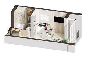 ЖК Гостомель Residence: планування 1-кімнатної квартири 25.46 м²