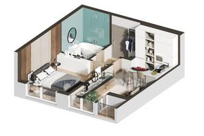 ЖК Гостомель Residence: планування 1-кімнатної квартири 39.57 м²