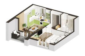 ЖК Гостомель Residence: планування 1-кімнатної квартири 47.97 м²