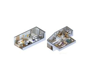 ЖК Гостомель Residence: планування 1-кімнатної квартири 61.55 м²
