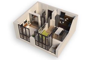 ЖК Гостомель Residence: планування 1-кімнатної квартири 37.85 м²