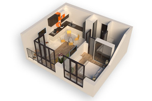 ЖК Гостомель Residence: планування 2-кімнатної квартири 49.7 м²