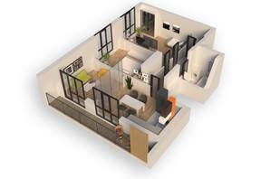 ЖК Гостомель Residence: планировка 2-комнатной квартиры 75.28 м²