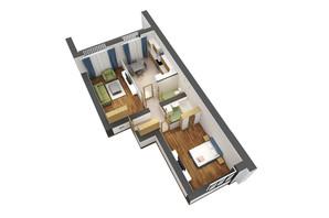 ЖК Гостомель Residence: планировка 2-комнатной квартиры 72.7 м²