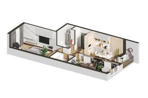 ЖК Гостомель Residence: планировка 2-комнатной квартиры 62.74 м²