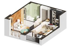 ЖК Гостомель Residence: планировка 1-комнатной квартиры 34.98 м²