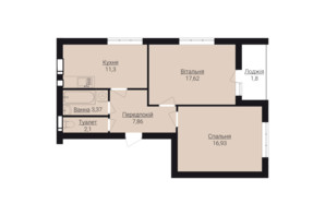 ЖК Гостомель Residence: планировка 2-комнатной квартиры 64.4 м²