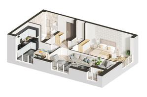 ЖК Гостомель Residence: планировка 2-комнатной квартиры 55.95 м²