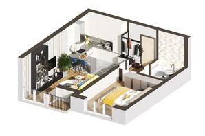 ЖК Гостомель Residence: планировка 1-комнатной квартиры 39.57 м²