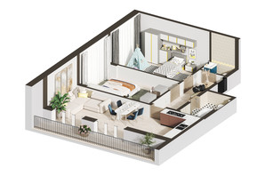 ЖК Гостомель Residence: планировка 2-комнатной квартиры 77.34 м²