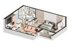 ЖК Гостомель Residence: планировка 1-комнатной квартиры 48.85 м²