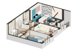 ЖК Гостомель Residence: планировка 2-комнатной квартиры 54.54 м²