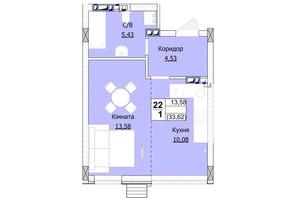 ЖК Гостомель Сіті: планування 1-кімнатної квартири 34 м²