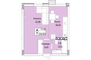 ЖК Гостомель Сіті: планування 1-кімнатної квартири 35 м²