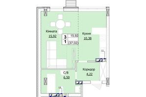 ЖК Гостомель Сіті: планування 1-кімнатної квартири 37 м²