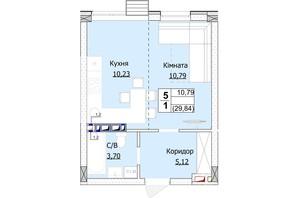 ЖК Гостомель Сіті: планування 1-кімнатної квартири 30 м²
