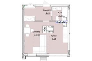 ЖК Гостомель Сити: планировка 1-комнатной квартиры 34 м²