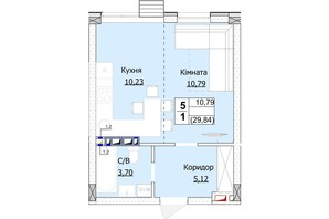 ЖК Гостомель Сити: планировка 1-комнатной квартиры 30 м²