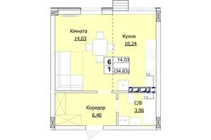 ЖК Гостомель Сити: планировка 1-комнатной квартиры 35 м²