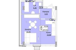 ЖК Гостомель Сити: планировка 1-комнатной квартиры 37 м²