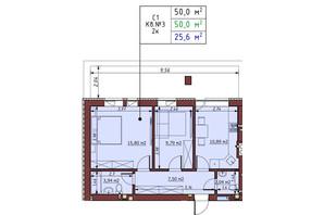 ЖК Гостомельські Липки 5: планування 2-кімнатної квартири 50 м²