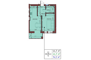 ЖК Гостомельські Липки 5: планування 1-кімнатної квартири 44.7 м²