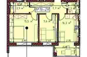ЖК Гостомельські Липки 5: планування 2-кімнатної квартири 55.8 м²