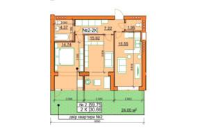 ЖК Гостомельські Липки 5: планування 2-кімнатної квартири 59.75 м²