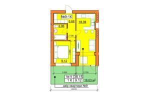 ЖК Гостомельські Липки 5: планування 1-кімнатної квартири 38.15 м²