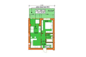 ЖК Гостомельські Липки 5: планування 1-кімнатної квартири 39 м²