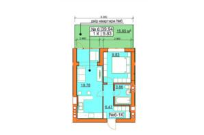 ЖК Гостомельські Липки 5: планування 1-кімнатної квартири 39.94 м²