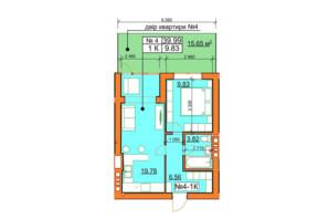 ЖК Гостомельські Липки 5: планування 1-кімнатної квартири 39.05 м²