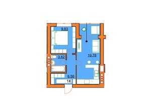 ЖК Гостомельські Липки 5: планування 1-кімнатної квартири 38.52 м²