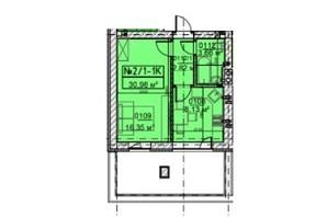 ЖК Гостомельські Липки 5: планування 1-кімнатної квартири 30.96 м²