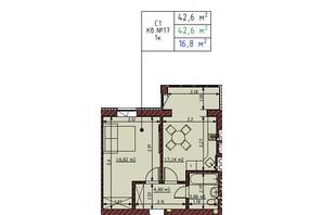ЖК Гостомельські Липки 5: планування 1-кімнатної квартири 42.6 м²
