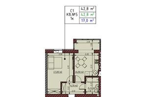ЖК Гостомельские Липки 5: планировка 1-комнатной квартиры 42.8 м²