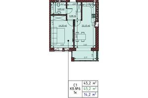 ЖК Гостомельские Липки 5: планировка 1-комнатной квартиры 45.2 м²