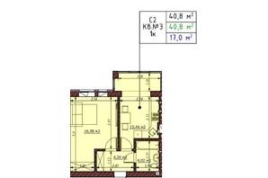 ЖК Гостомельские Липки 5: планировка 1-комнатной квартиры 40.8 м²
