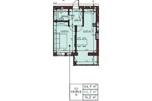 ЖК Гостомельские Липки 5: планировка 1-комнатной квартиры 44.7 м²
