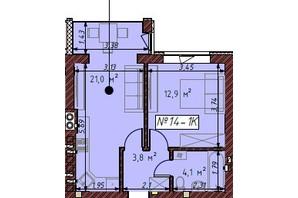 ЖК Гостомельские Липки 5: планировка 1-комнатной квартиры 41.9 м²